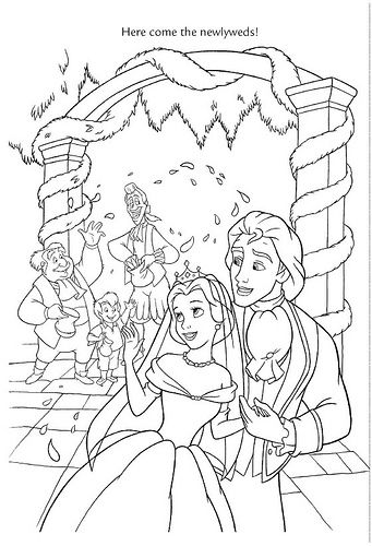 Belle Prince Adam Beauty And The Beast Coloring Picture With