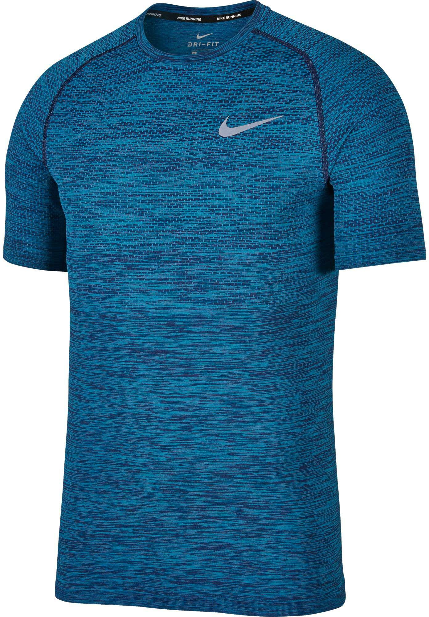 cfb4a28571 Nike Men's Dry Knit Short Sleeve Printed Running Shirt, Size: Medium,  Binary Blue/Lt Blue Fury