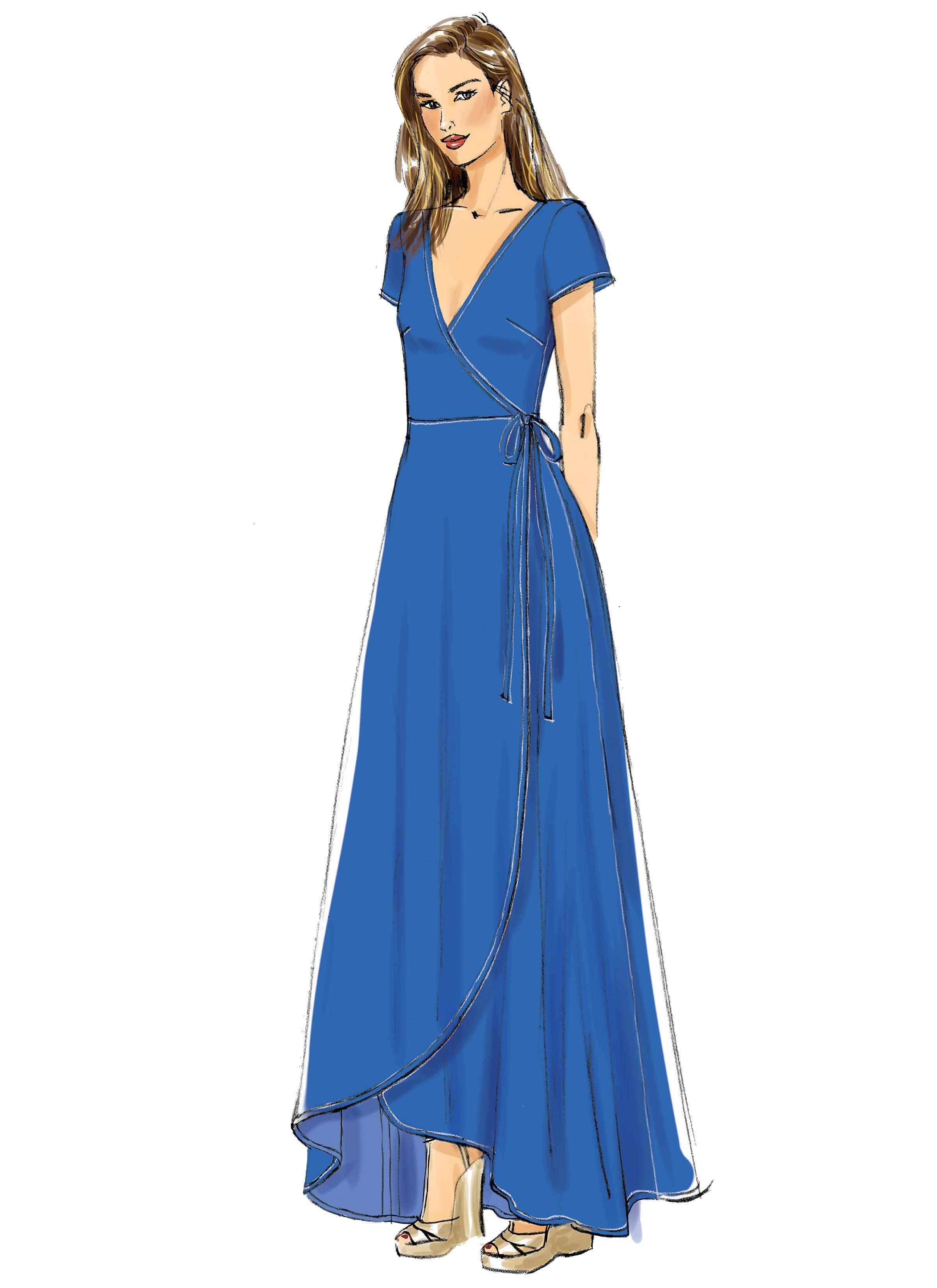 Vogue Pattern 9251 Wrap Dresses with Ties, Sleeve Length
