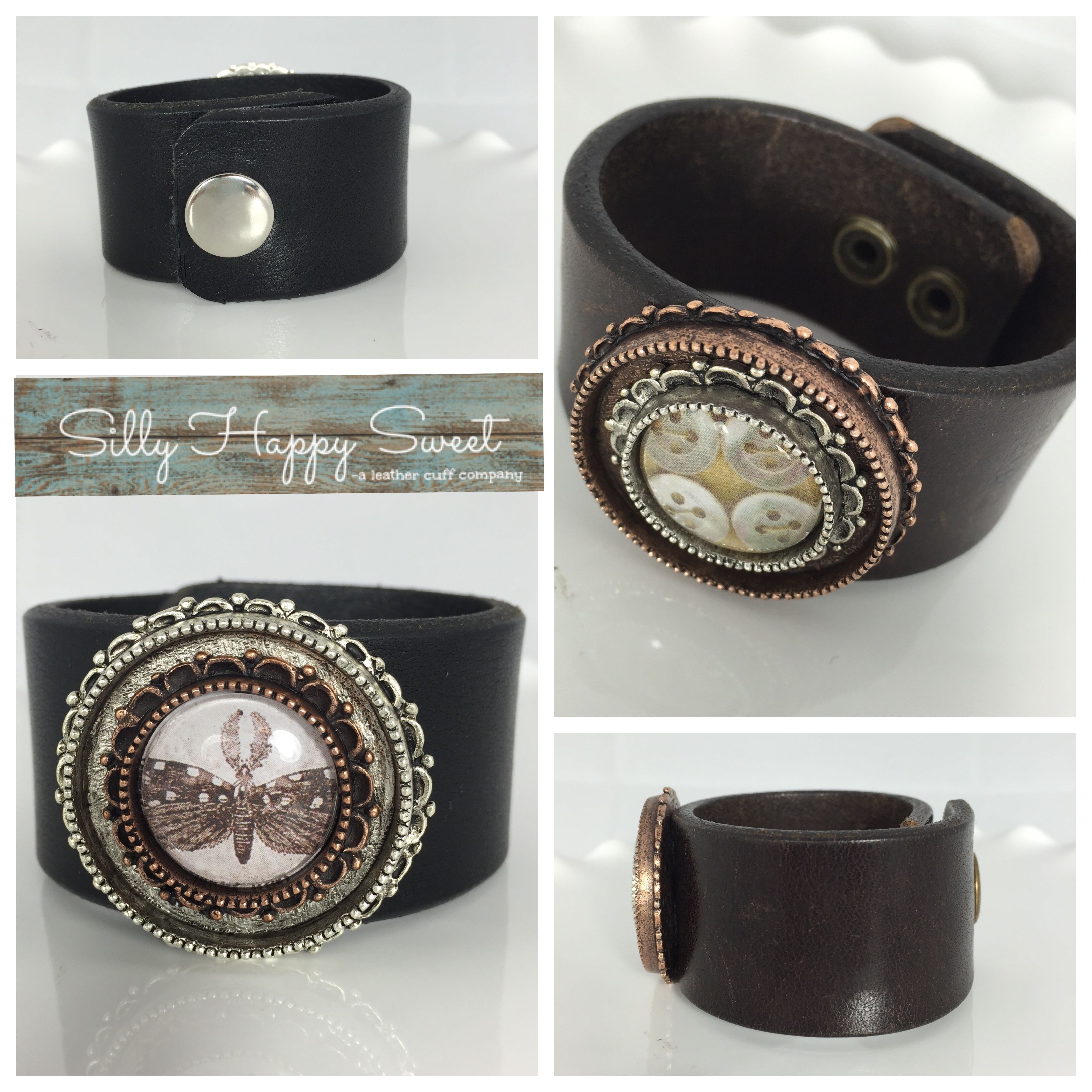 Designer custom leather cuffs with beautiful bezels. Customizable--you pick center image. Available in brown and black leather.