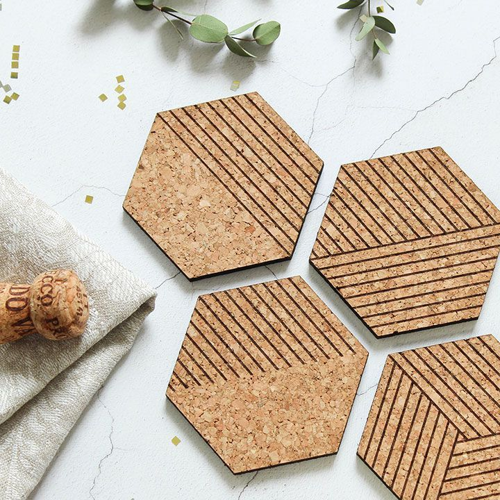 Cork coasters set of four cork hexagons in 2020 mit