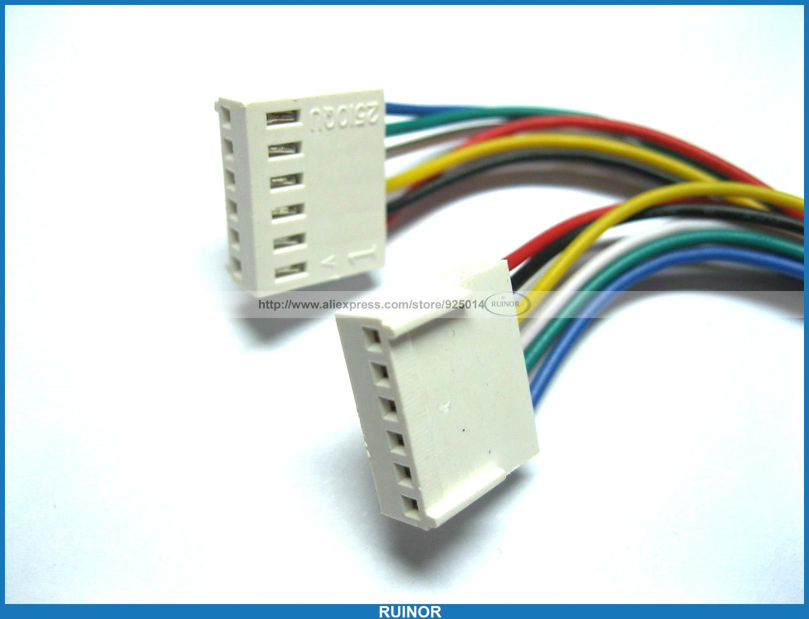 20 Pcs 2510 2.54mm Pitch 6 Pin Female Connector with 26AWG 300mm ...