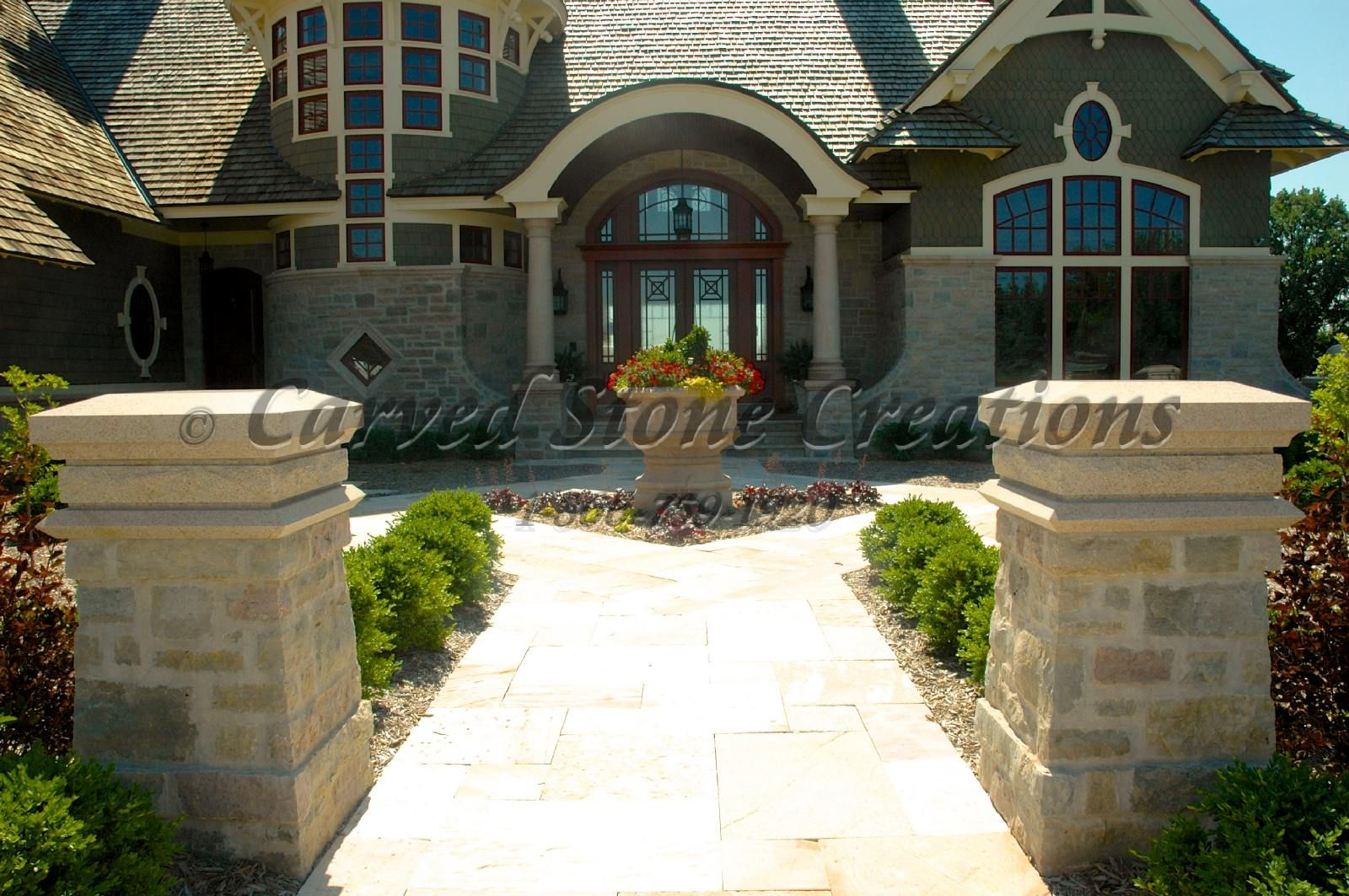 Front Entryway Designs enhance your front entryway using stone columns. click on the