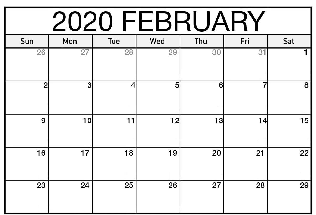 February 2020 Calendar Pdf Word Excel Printable Template