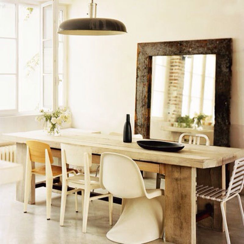 Like The Rustic Table And Big Mirror