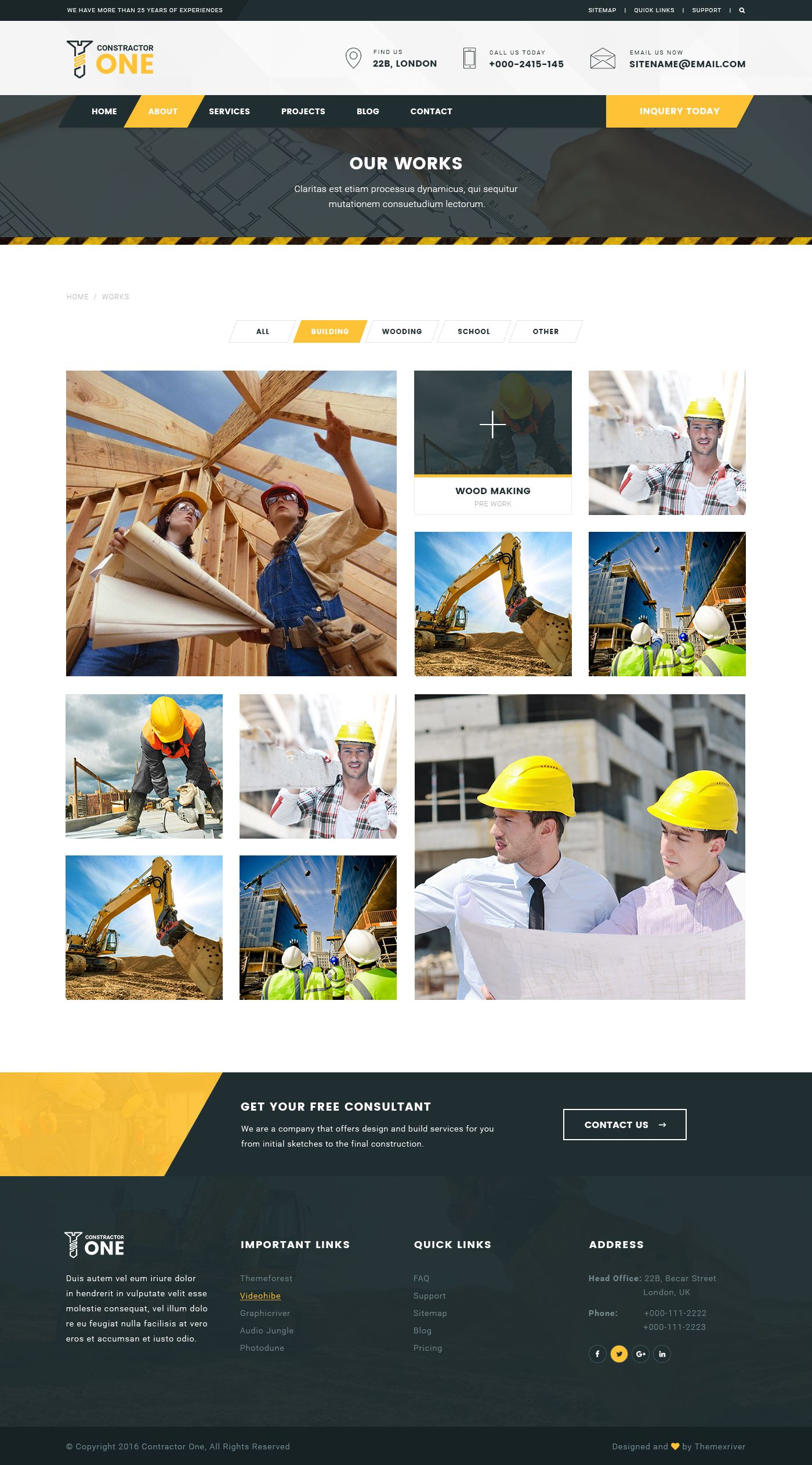 Constructor One – Construction PSD Template | Business | Psd