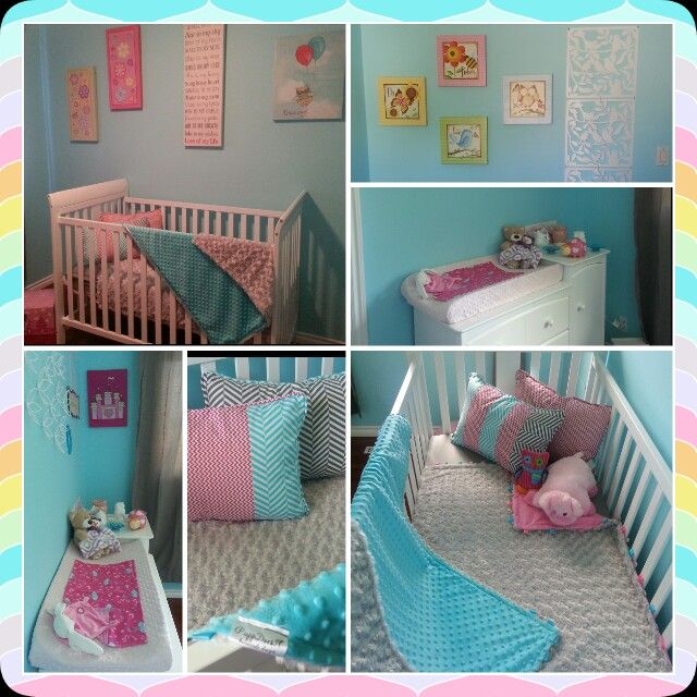 My girlfriend's beautiful nursery,  my mom and I custom made her bedding, blankets and pillowsfor her wonderful colors