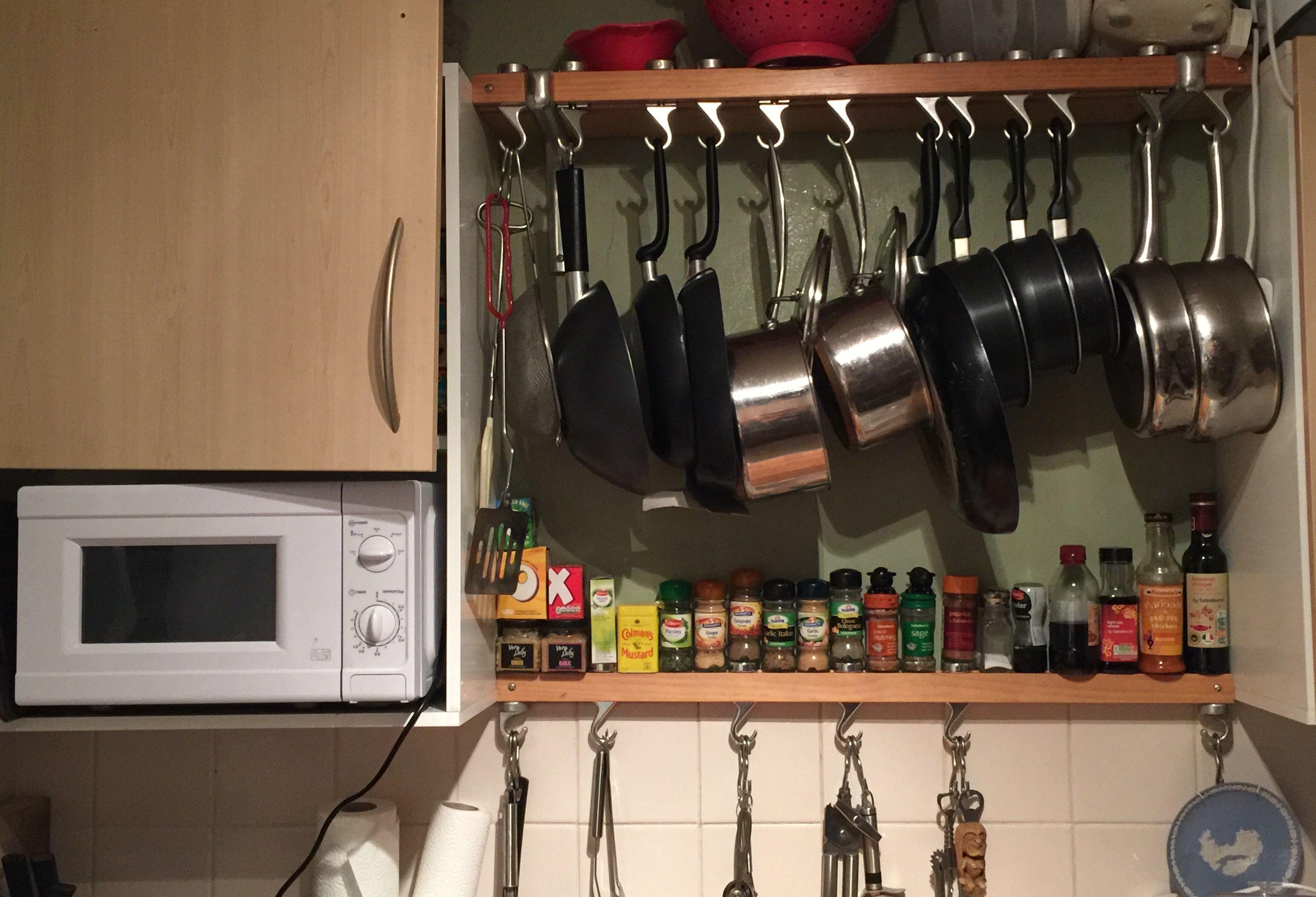 Masterclass wooden kitchen shelf saucepans and frying pans and