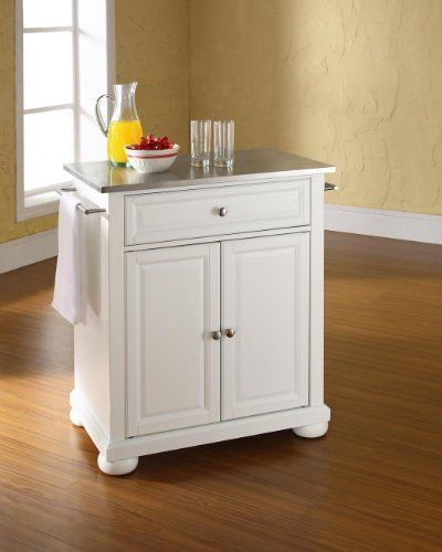 crosley furniture alexandria stainless steel top portable kitchen island in white finish find out