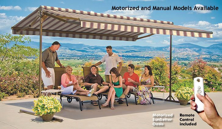 SunSetter Mororized and Manual Oasis Freestanding Awnings ...