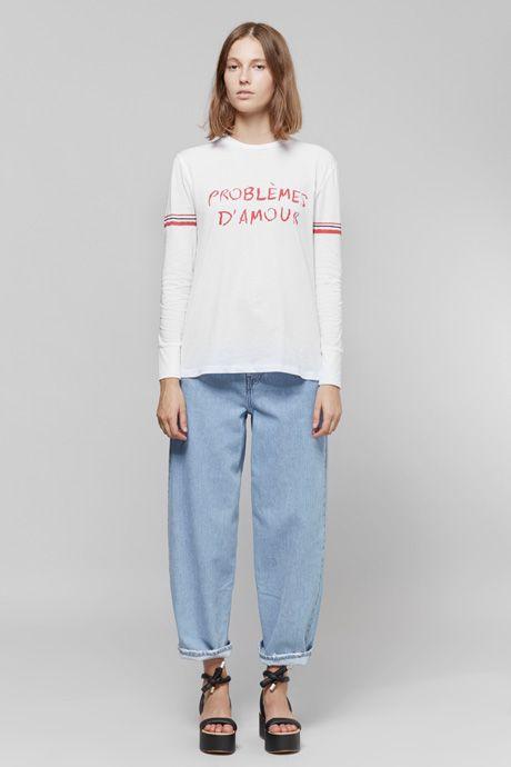 Être Cécile Problemes D'Amour Long Sleeve T-Shirt   MM6 Maison Margiela Washed Denim Jeans & Tie Platform Sandals   MYCHAMELEON.COM.AU