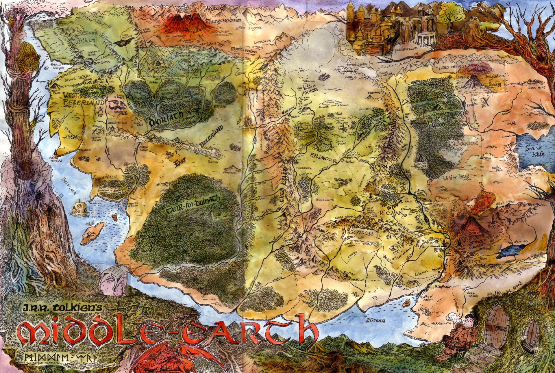 Illustrated map of Endor | Silmarillion | Lord of the rings, Map