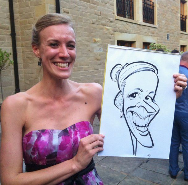 Wedding caricatures drawn at Whitley Hall Sheffield