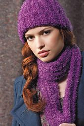 Ravelry  Ribbed Hat and Scarf  LW2372 pattern by Red Heart Design Team 90a0daf5eea