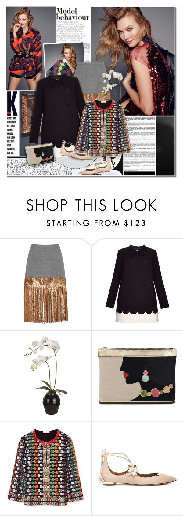 """""""Karlie Kloss: Model Behaviour"""" by beautifully-eclectic ❤ liked on Polyvore featuring Chloé, J.Crew, RED Valentino, Sia, Charlotte Olympia, Tory Burch, Aquazzura, women's clothing, women and female"""