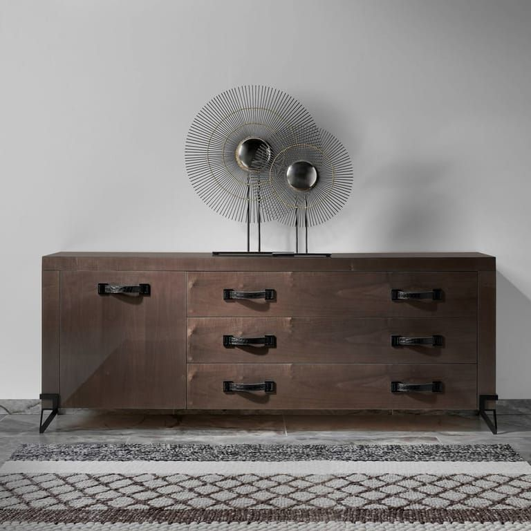 London Collection Contemporary Walnut Veneered Designer Sideboard