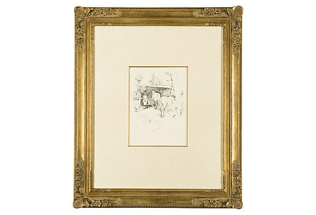 """Whistler, The Smith's Yard 1895 on OneKingsLane.comFrame details:Framed archivally with acid-free materials inclusive of silk matting. The framed measurements are 20 1/2"""" x 24 1/2""""."""