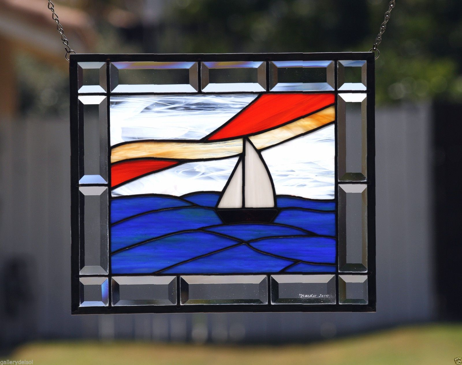 Beach theme decoration stained glass window panels arts crafts - Smooth Sailing Contemporary Stained Glass Window Panel Sailboat Nautical Ebay