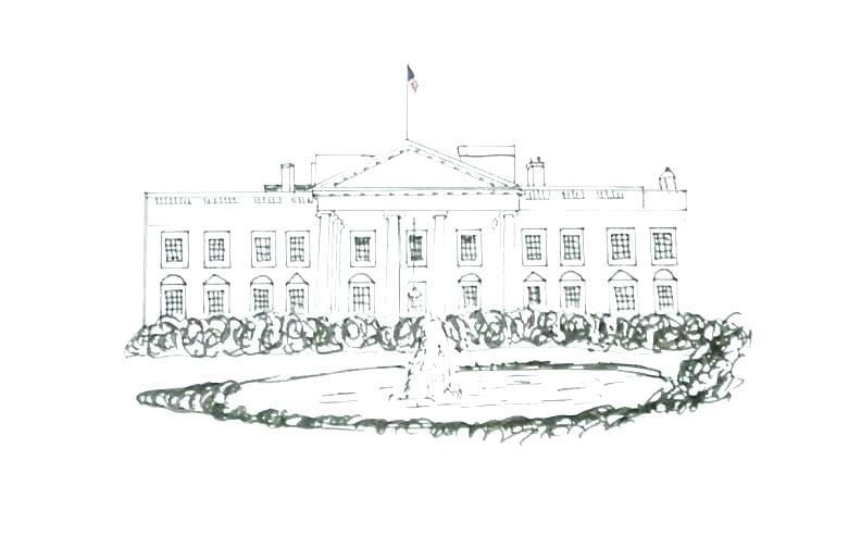 White House Coloring Page Black And White House Coloring Page