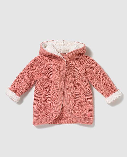 c23209266b9 Chaqueta de bebe niña Brotes con borrego en rosa