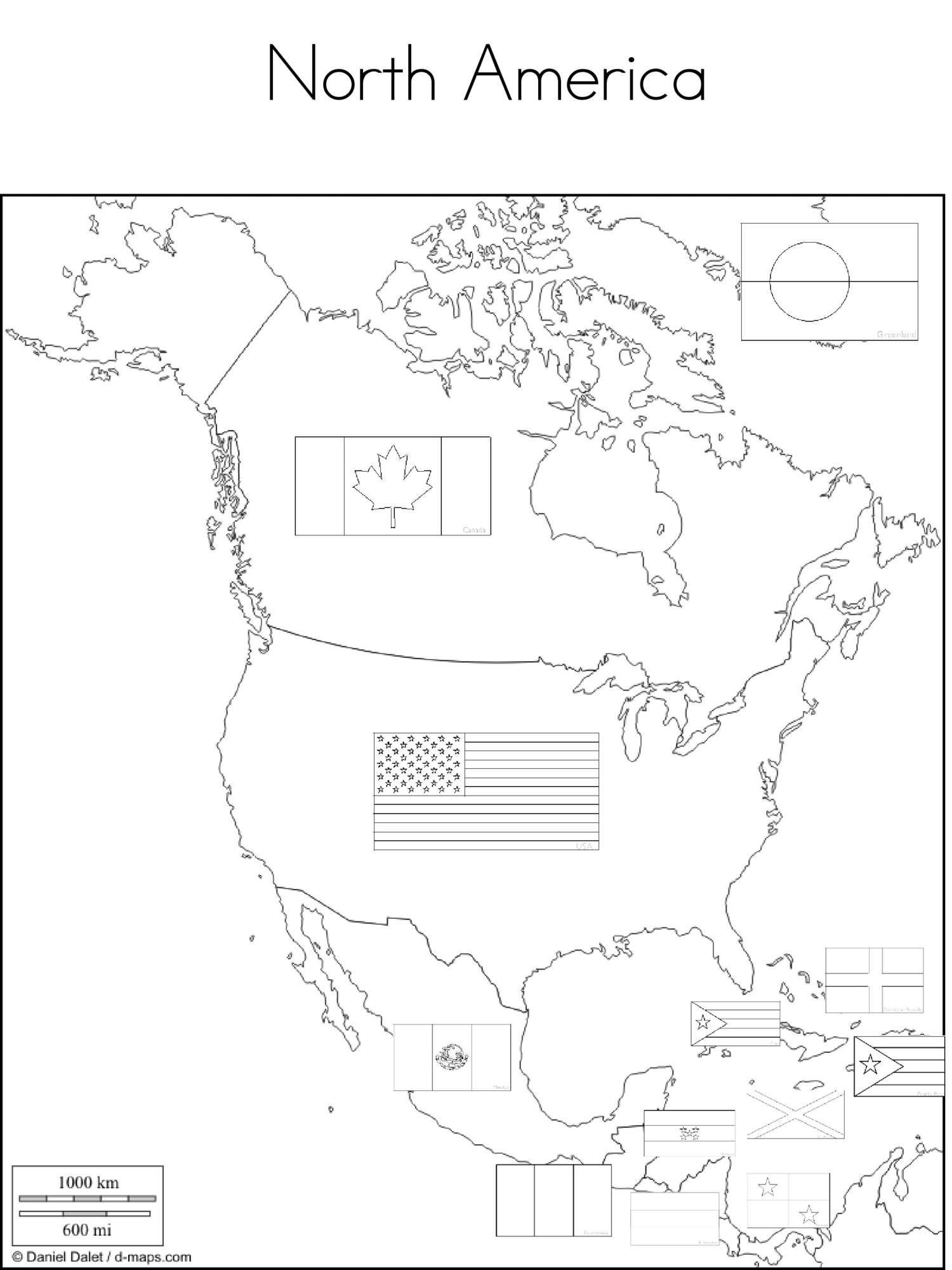 View and download Flags on Map Coloring Pages NorthAmerica ...