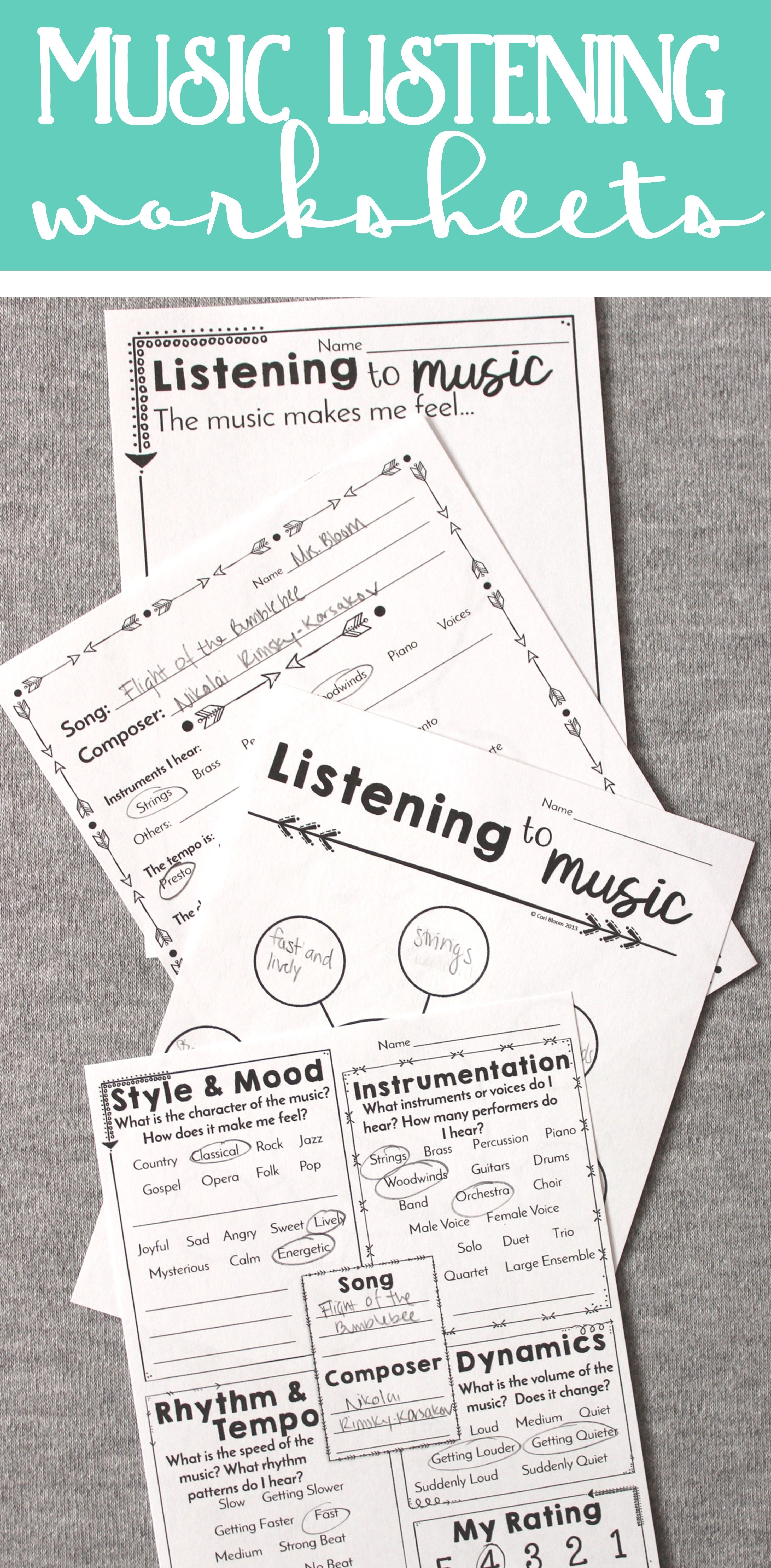 small resolution of Awesome music listening worksheets for all grades kindergarten through high  school! #violin…   Music listening worksheet