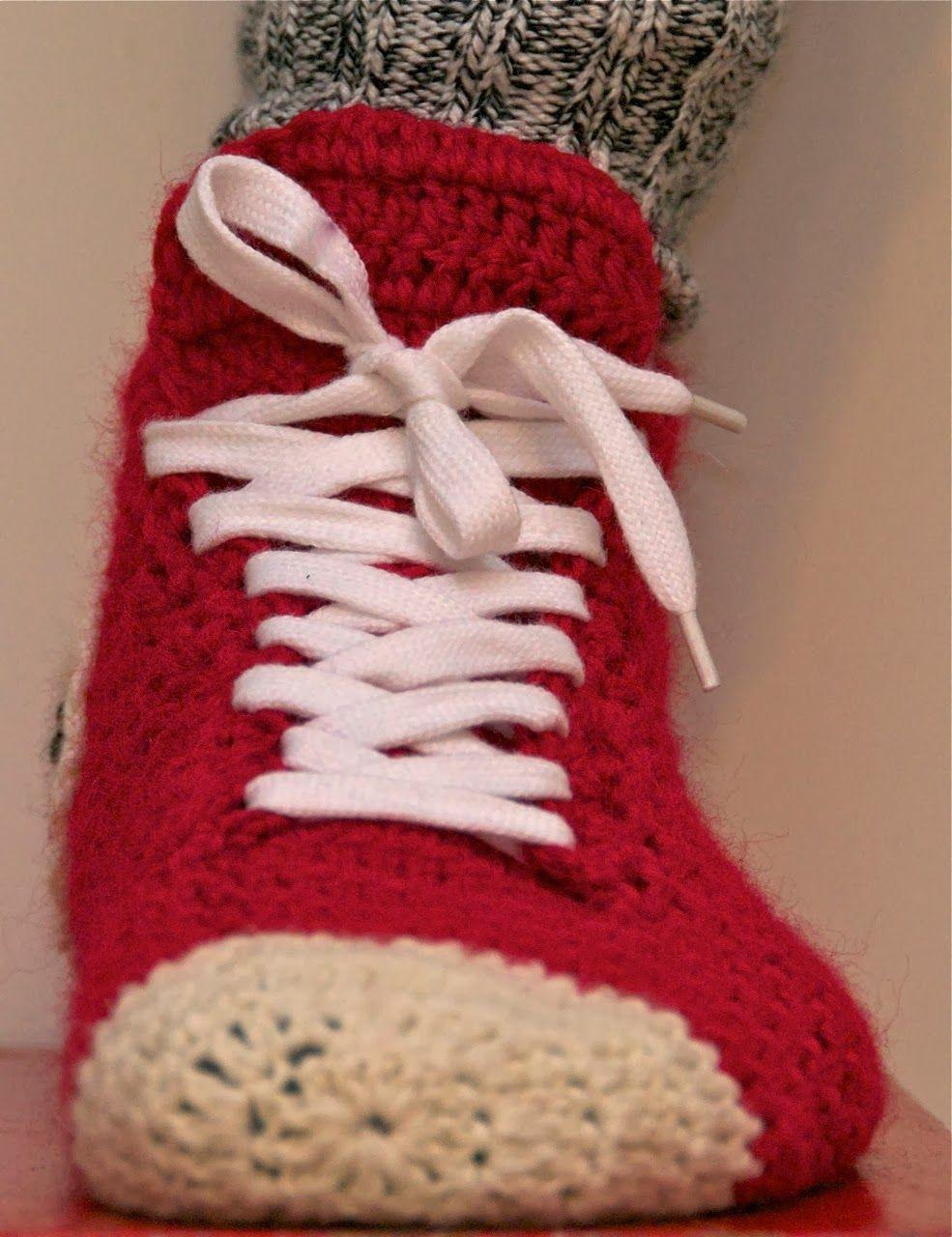Crochet Converse Slippers Slippers Pinterest Crochet Converse
