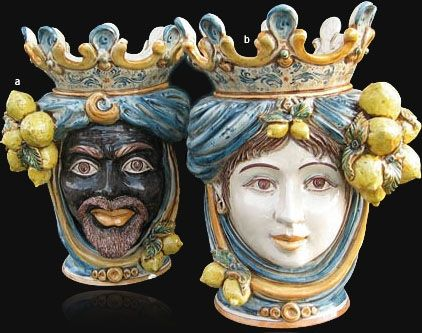 Who Coming At Least Once To Sicily Has Never Seen A Moorish Head In A Balcony Or In A Traditional Sicilian Rest Sicilian Pottery Italian Pottery Caltagirone