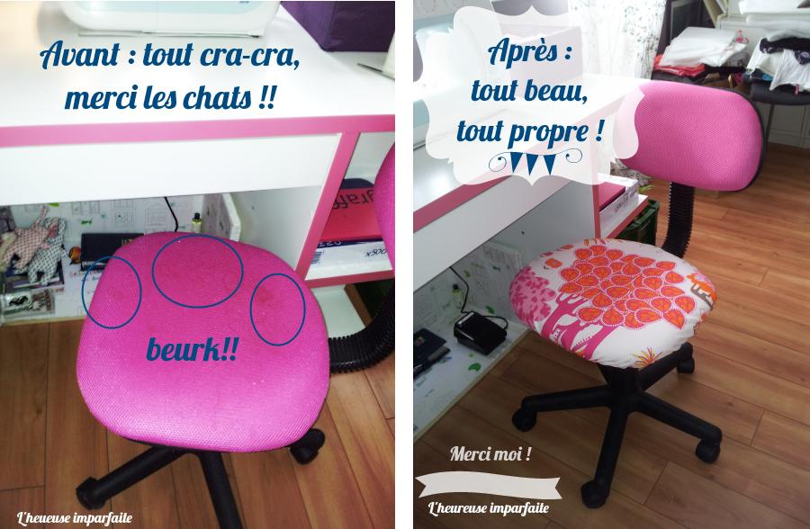 Une Nouvelle Housse Pour Chaise De Bureau Diy Housse De Chaise Chaise Bureau Coussin Chaise