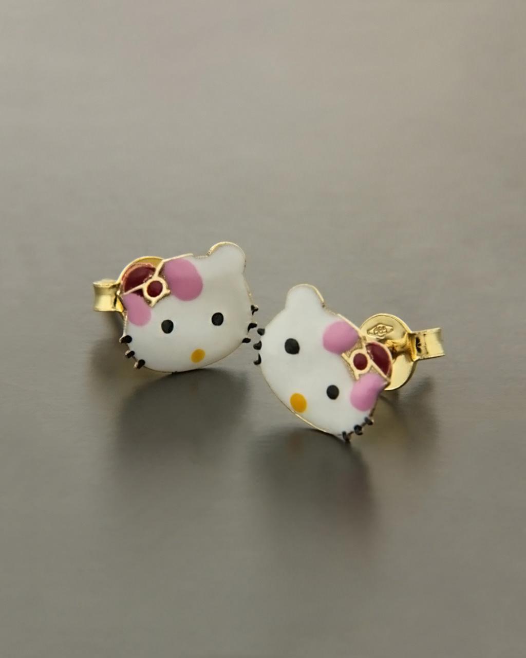 Παιδικά σκουλαρίκια χρυσά Κ14 με Σμάλτο  60f96ca3963