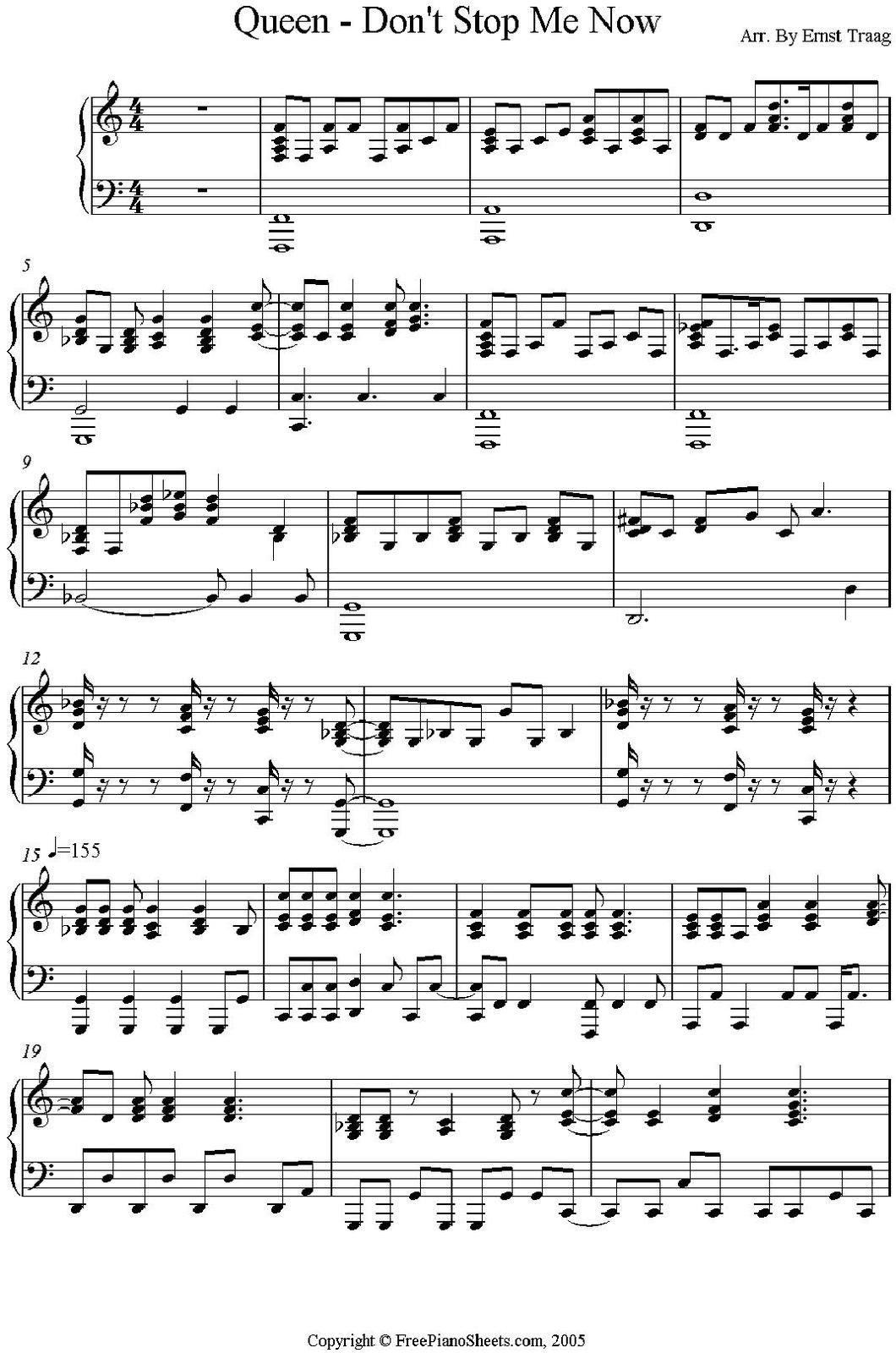 Partitura Para Piano Don T Stop Me Now Partituras Canciones