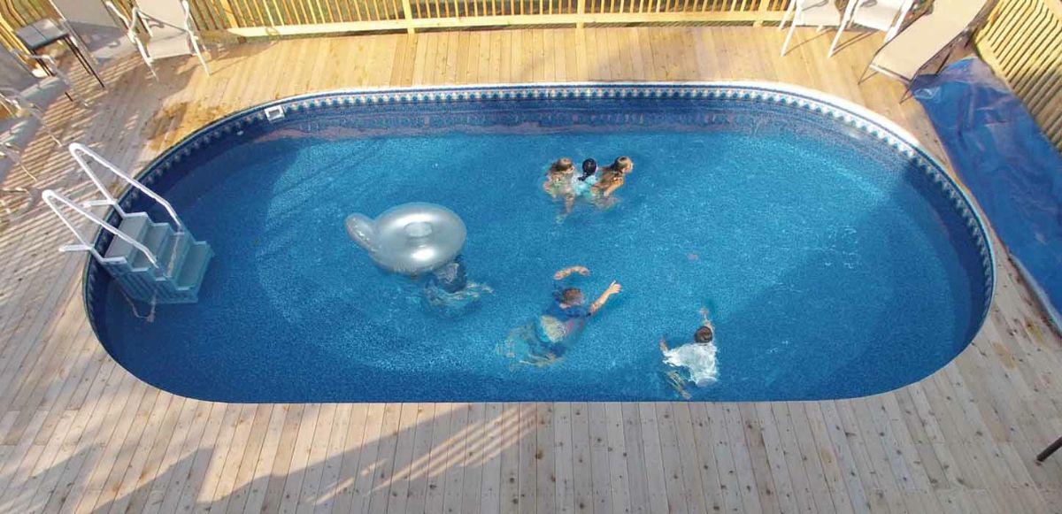 Radiant semi inground pools pool area pinterest semi for Above ground pool decks indianapolis