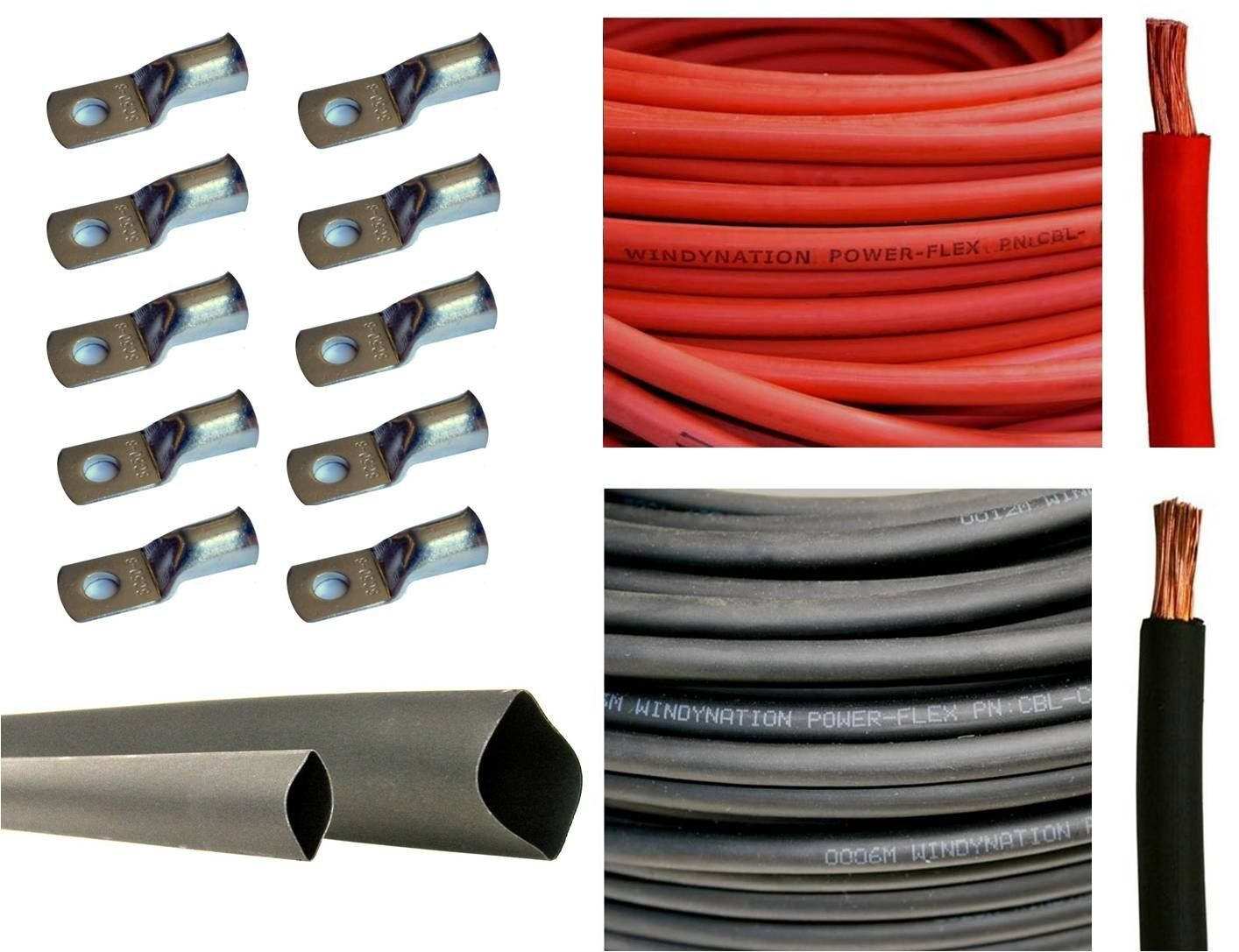 4 Gauge 4 Awg 15 Feet Red 15 Feet Black Welding Battery Pure Copper Flexible Cable 10pcs Of 3 8 Tinned Copper Cable Lug Terminal Connectors 3 Feet Black Heat Shrink Tubing Welding Cable Pure Products Pure Copper