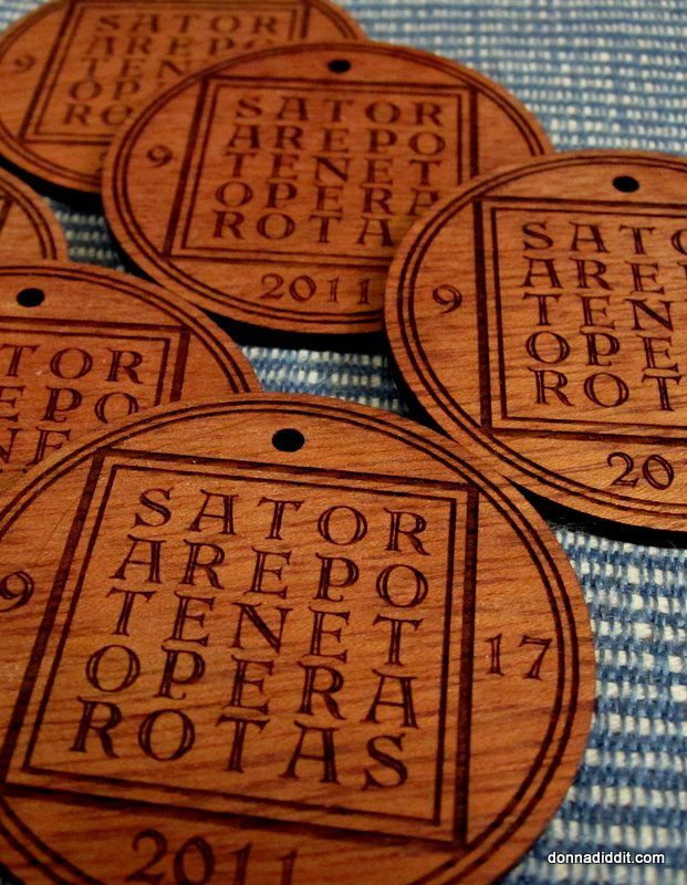 Custom engraved and laser cut cherry wood SATOR Square medallion wedding favors. What?! You've never heard of the SATOR square?! Quickly! To the wiki!