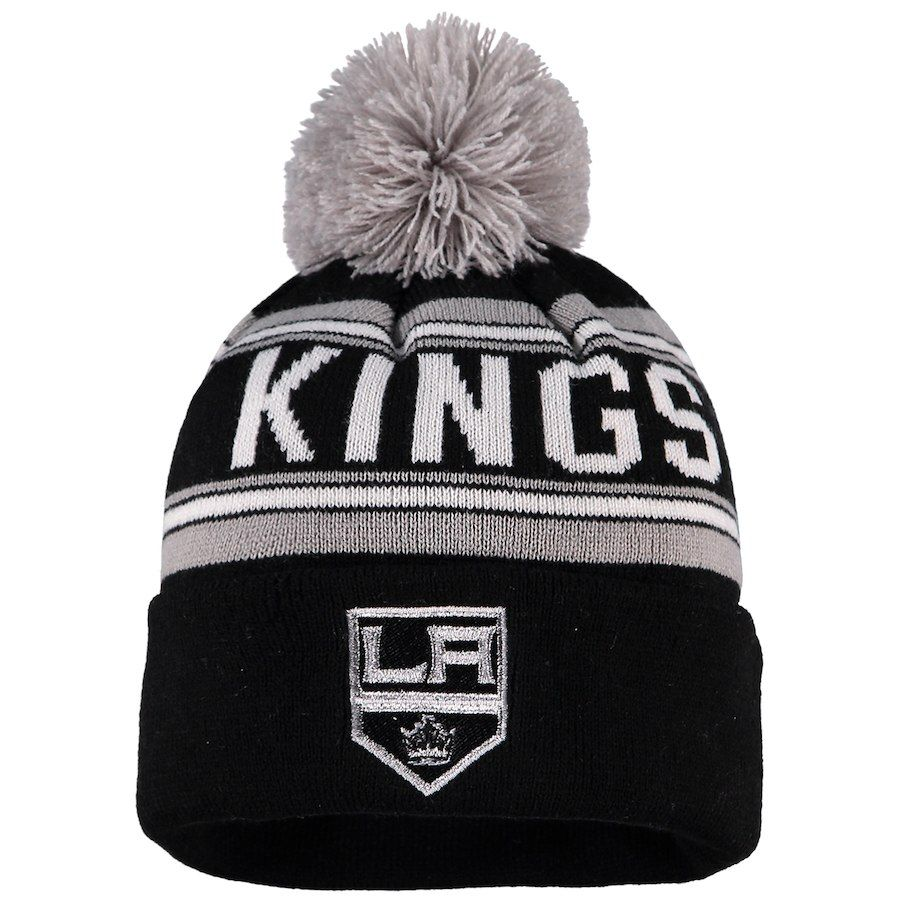 premium selection 53b27 abd9a Youth Los Angeles Kings Black Wordmark Cuffed Knit Hat with Pom, Your  Price   17.99