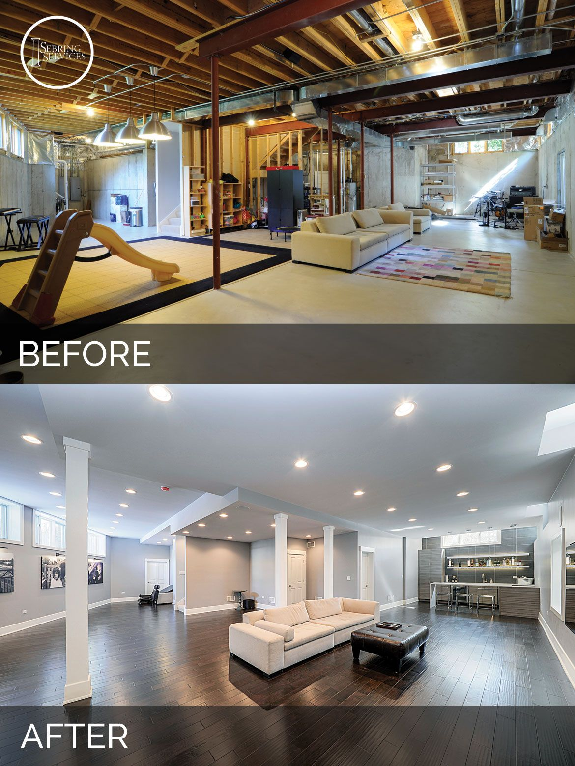 Elegant Before And After Basement Remodeling   Sebring Services