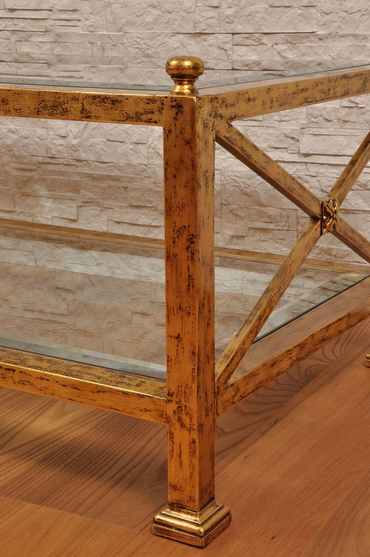 Tavolini Da Salotto In Stile Classico.Tavolo Da Salotto Laccato In Foglia Oro Consumato Con Piani In