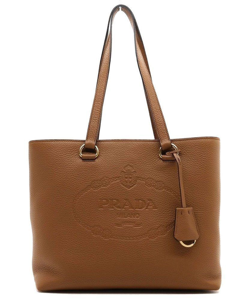 Prada Women s Brown Vitello Daino Prada Leather Shopping Tote 1BG100 ... 8a85c64211470