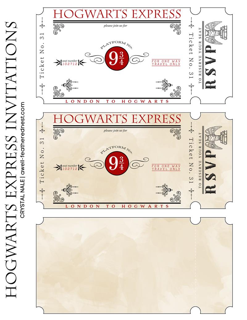 free printable Harry Potter party invitation tickets | Harry ...
