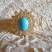 Vintage 14K GOLD Lapis  & Pearl Ring  HUGE MGM Grand Las Vegas