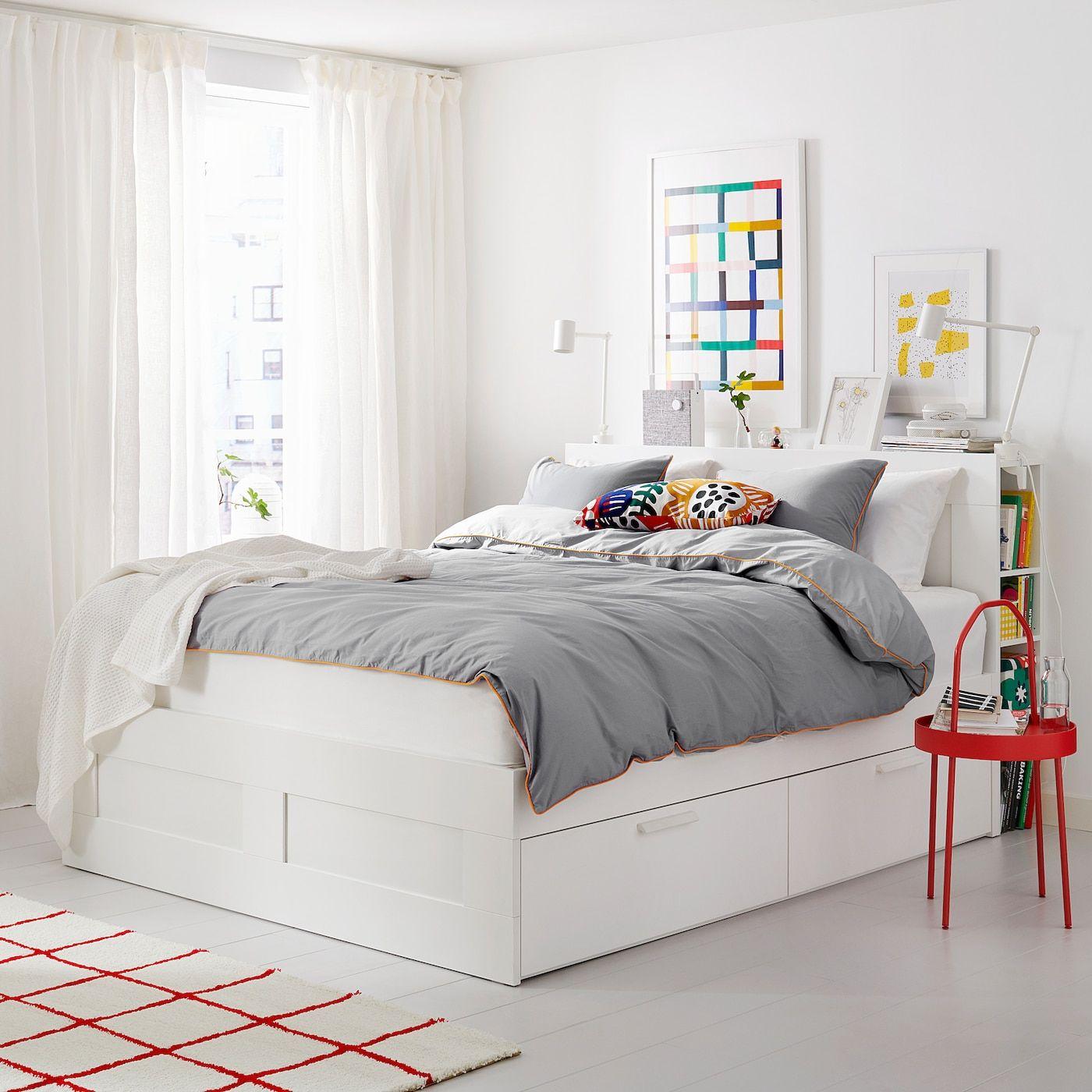 Ikea Brimnes Bettgestell Kopfteil Und Schublade Wei Szlig Lur Ouml Y In 2020 Bed Frame With Storage White Bed Frame Headboard Storage