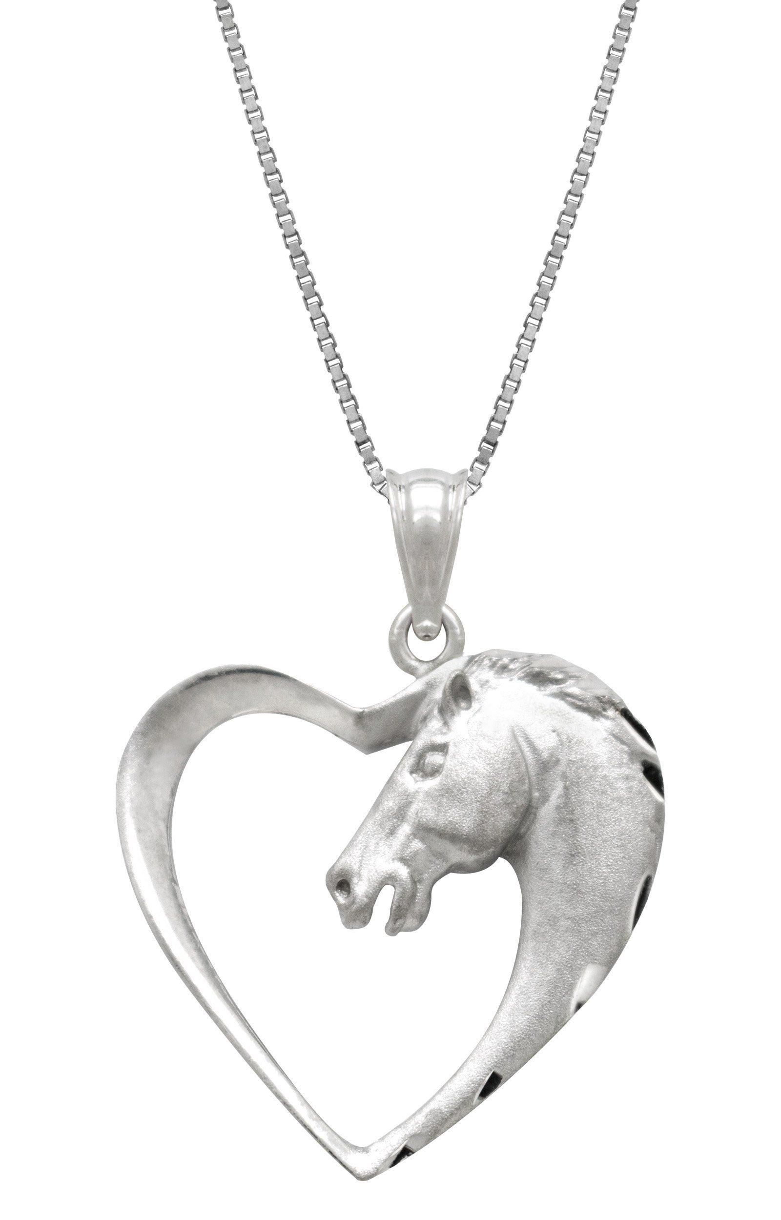 Sterling silver horse in heart necklace pendant with 18 box chain sterling silver horse in heart necklace pendant with 18 box chain horse aloadofball Gallery