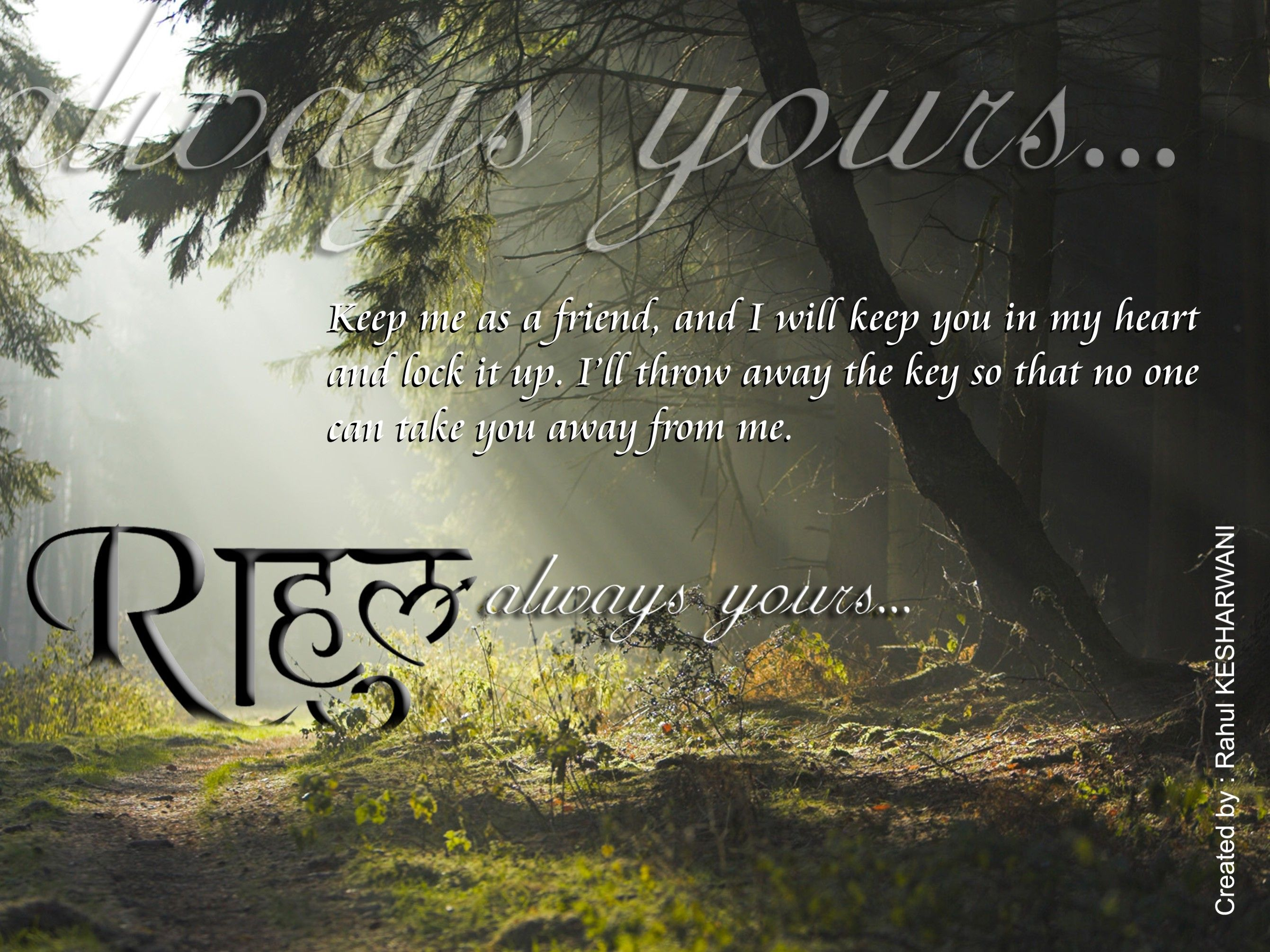 Beautiful Love Quote By Rahul My Some Own Created Wallpapers