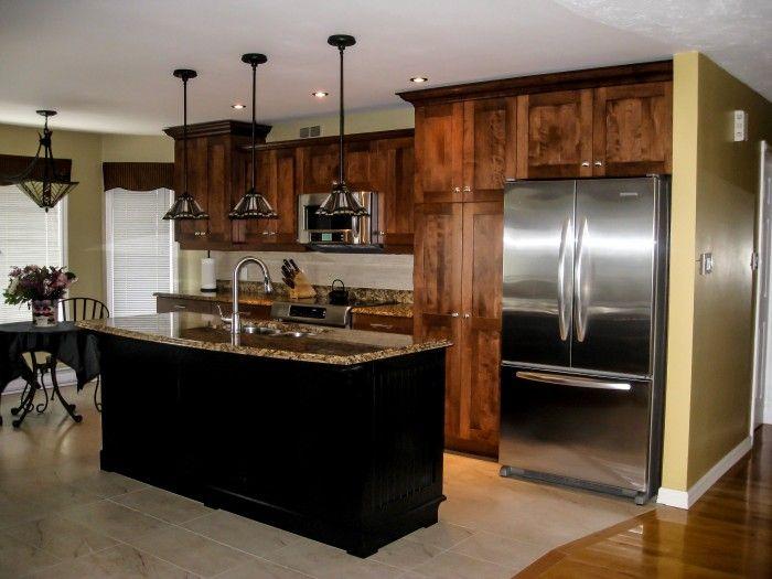 R novation compl te cuisine armoire en bois style shaker for Armoire de cuisine deux tons