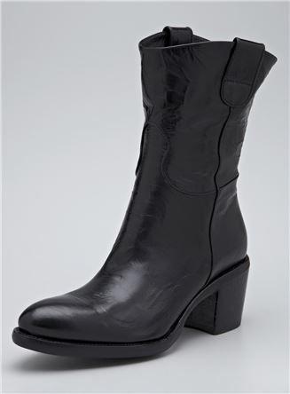 Mid Heel Leather Western Boot
