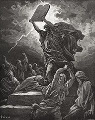Christianity Art - Moses Breaking the Tablets of the Law by Gustave Dore