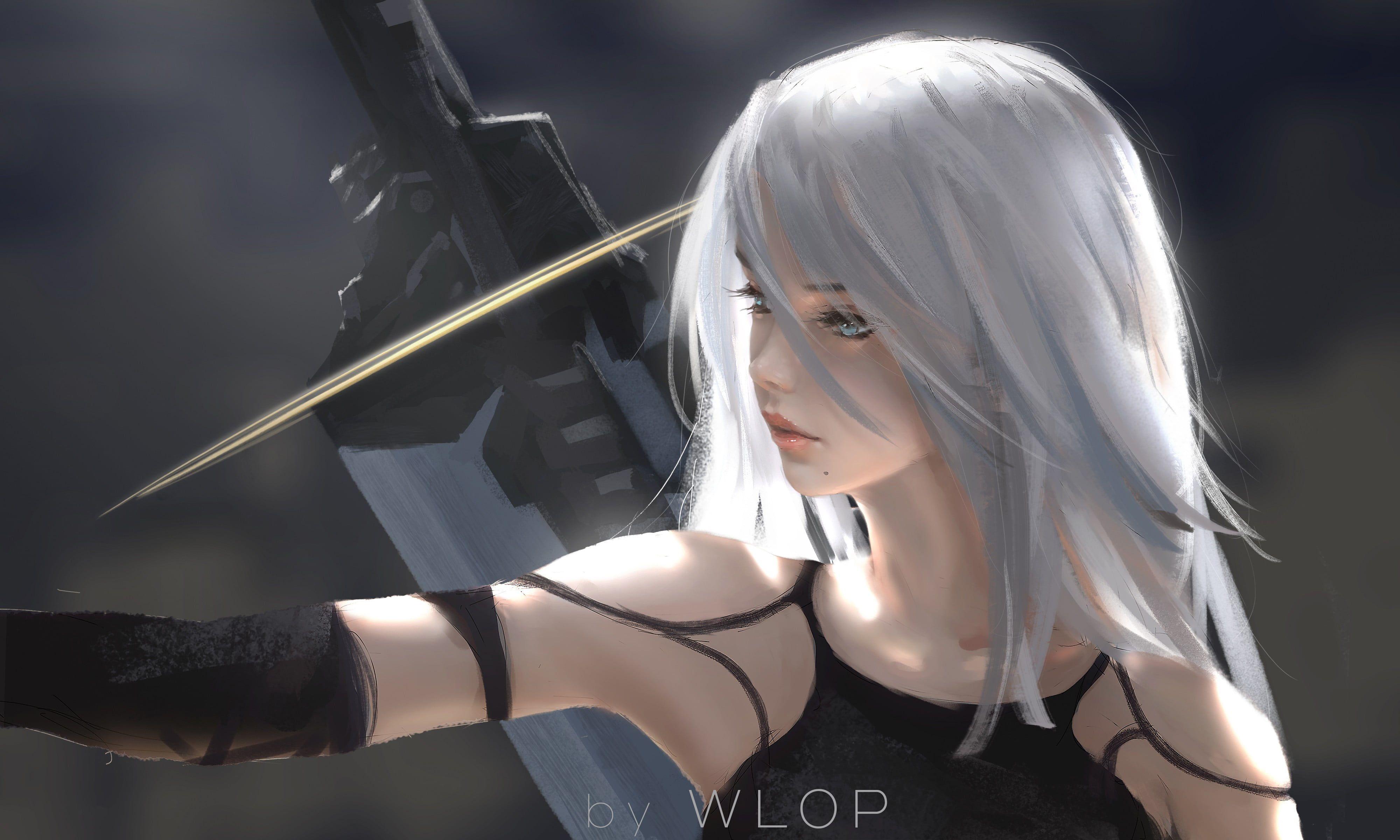 Female Gray Haired Animated Character With Black Hilt Sword Digital Art Artwork Wlop Women Long Hair White Hair Nier A2 Nier Fantasy Girl Digital Art Girl