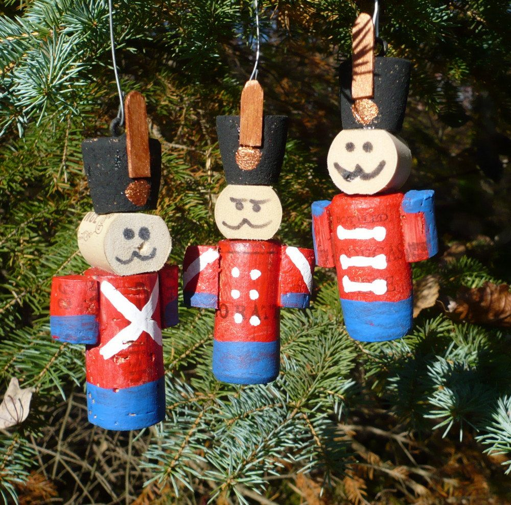 Wine Cork Toy Soldier Nut Cracker Christmas Tree Ornament Wine Cork Ornaments Wine Cork Crafts Cork Crafts