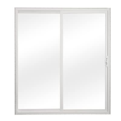 Reliabilt Clear Glass White Vinyl Universal Reversible Double Door Sliding Patio Door Common 60 In X 80 In Actual 58 75 In X 79 5 In Lowes Com Vinyl Sliding Patio Door Patio Doors Sliding Patio Doors
