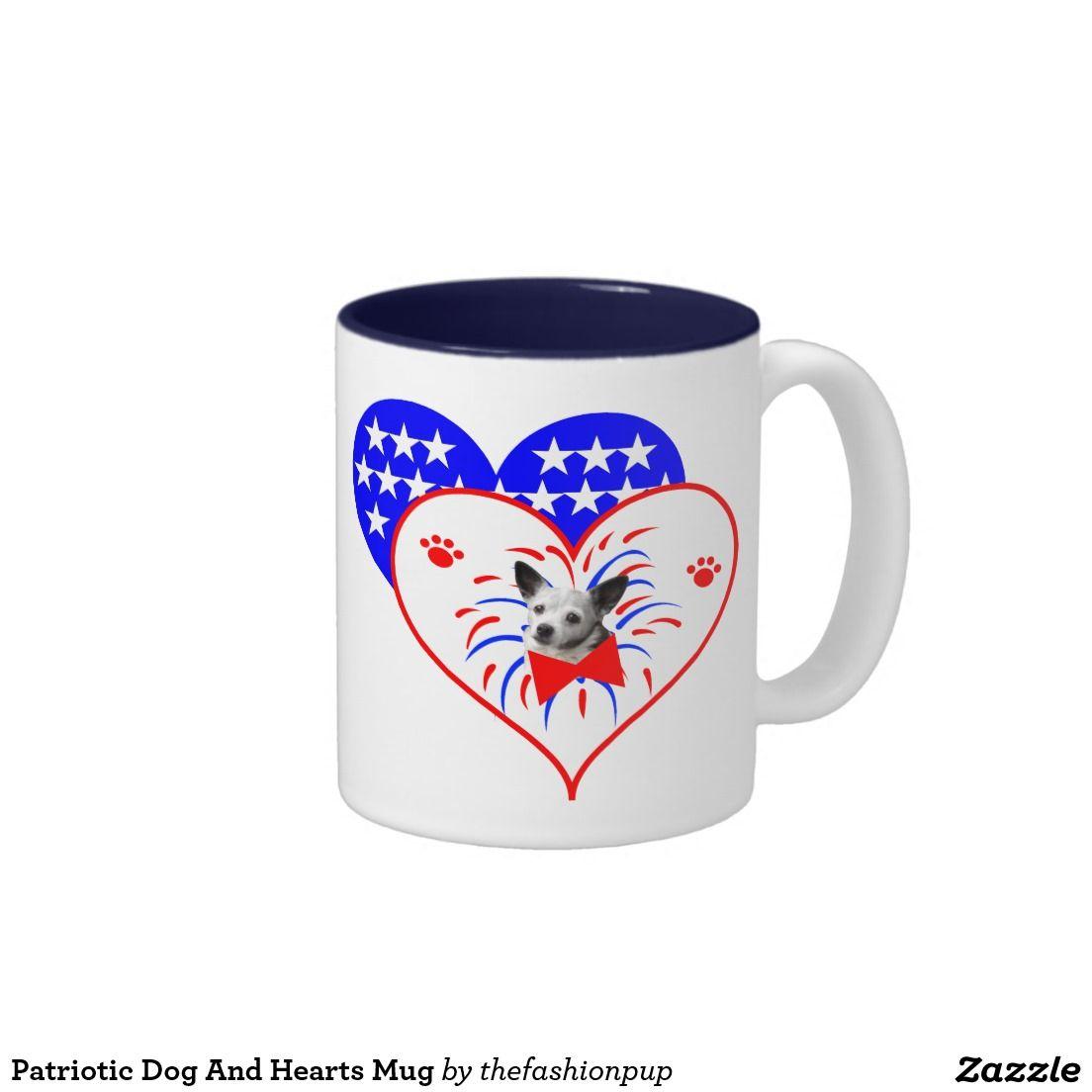 Patriotic Dog And Hearts Mug